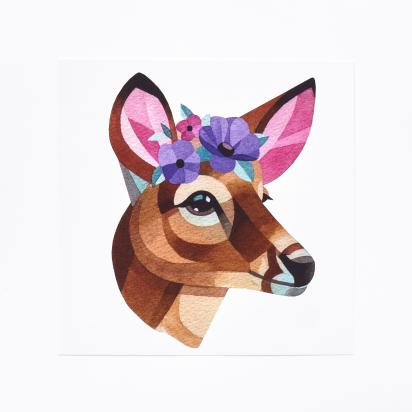 DEER WITH FLOWERS